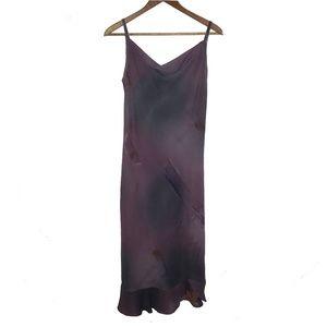 Purple Watercolor Spaghetti Strap Midi Dress